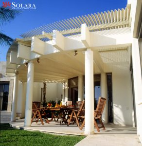 Patio covers with custom made pillars.
