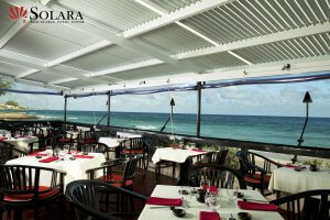 Commercial patio cover by the ocean.