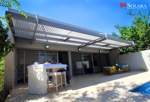 White And Gray Aluminum Patio Cover.
