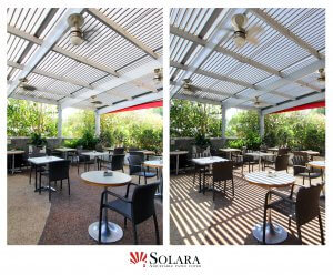 Open and closed louvered roof system for commercial application
