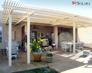 Enhance your outdoor living space with an adjustable louvered roof system by Solara.