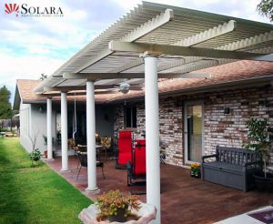 Why settle for a solid patio cover when you can have an adjustable louvered roof system by Solara.