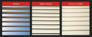 With the Adjustable Louvered Roof Sytem you can select to either open, partial open, or close the louvers to your patio.
